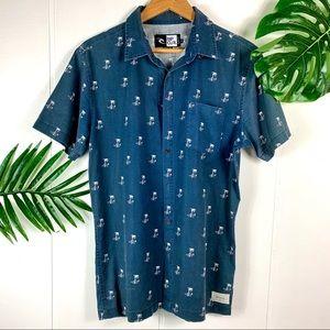 RIP CURL Men's Palm Tree Casual ButtonDown Shirt M